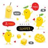 Αστείο χαριτωμένο διάνυσμα χαρακτήρα χαμόγελου θερινών κινούμενων σχεδίων φρούτων μάγκο στοκ εικόνες
