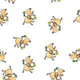 Αστείο χορεύοντας σκυλί με το άνευ ραφής σχέδιο maracas ελεύθερη απεικόνιση δικαιώματος
