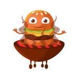 Αστείο burger χαμόγελου με τα μεγάλα μάτια που κάθονται στην καυτή BBQ σχάρα ξυλάνθρακα Χαριτωμένο διάνυσμα χαρακτήρα emoji γρήγο Στοκ εικόνα με δικαίωμα ελεύθερης χρήσης