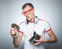 Αστείο DJ με τα CD Στοκ φωτογραφίες με δικαίωμα ελεύθερης χρήσης