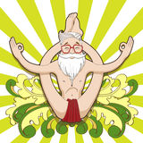 Αστείο hipster σε μια γιόγκα θέτει Στοκ Εικόνες