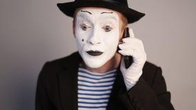 Αστείο Mime στο τηλέφωνο απόθεμα βίντεο
