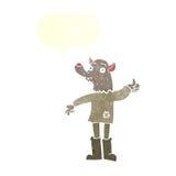 αστείο werewolf κινούμενων σχεδίων με τη λεκτική φυσαλίδα Στοκ Εικόνες