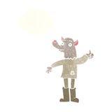 αστείο werewolf κινούμενων σχεδίων με τη σκεπτόμενη φυσαλίδα Στοκ φωτογραφία με δικαίωμα ελεύθερης χρήσης