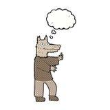 αστείο werewolf κινούμενων σχεδίων με τη σκεπτόμενη φυσαλίδα Στοκ Εικόνα