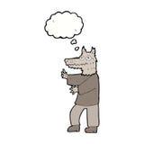 αστείο werewolf κινούμενων σχεδίων με τη σκεπτόμενη φυσαλίδα Στοκ Εικόνες
