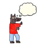 αστείο werewolf κινούμενων σχεδίων με τη σκεπτόμενη φυσαλίδα Στοκ Φωτογραφία