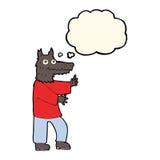 αστείο werewolf κινούμενων σχεδίων με τη σκεπτόμενη φυσαλίδα Στοκ Φωτογραφίες