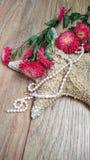 Αστερίας με τα λουλούδια και τα μαργαριτάρια στοκ φωτογραφία