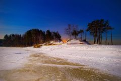 Αστερισμοί και αστέρια στο χειμερινό ουρανό των βόρειων hemis Στοκ εικόνα με δικαίωμα ελεύθερης χρήσης
