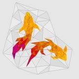 Αστερισμός των χρυσών pisces ψαριών στο γεωμετρικό ύφος απεικόνιση αποθεμάτων