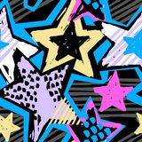 Αστεριών μορφών εκφραστικό μελάνι τεχνών χεριών γκράφιτι άνευ ραφής hipster διανυσματική απεικόνιση