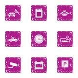 Αστικά εικονίδια θέσεων στάθμευσης καθορισμένα, grunge ύφος Στοκ εικόνες με δικαίωμα ελεύθερης χρήσης