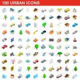 100 αστικά εικονίδια καθορισμένα, isometric τρισδιάστατο ύφος Στοκ Εικόνες