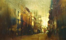 Αστική οδός πόλεων, ζωγραφική απεικόνισης διανυσματική απεικόνιση