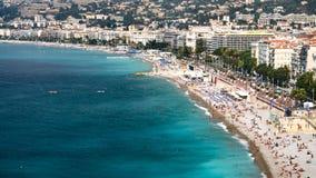 αστική παραλία κοντά Promenade des Anglais στη Νίκαια Στοκ Εικόνες