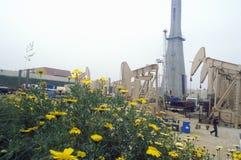 Αστική πετρελαιοπηγή σε Torrance στη κομητεία Delamo, ασβέστιο στοκ εικόνα