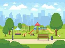 Αστικός θερινός δημόσιος κήπος με την παιδική χαρά παιδιών Διανυσματικό πάρκο πόλεων κινούμενων σχεδίων με τη εικονική παράσταση  ελεύθερη απεικόνιση δικαιώματος