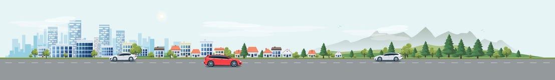Αστικός δρόμος οδών τοπίων με τα αυτοκίνητα και το υπόβαθρο φύσης πόλεων