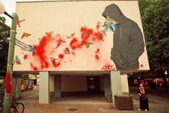 Αστικό έργο τέχνης με τα άγνωστα γκράφιτι καλλιτεχνών Στοκ Φωτογραφία