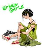 Αστικό κορίτσι σκέιτερ Στοκ Φωτογραφία