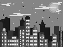 Αστικό πόλεων γκρι σχεδίου τοπίων επίπεδο ελεύθερη απεικόνιση δικαιώματος
