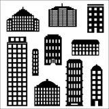 Αστικό σύνολο σκιαγραφιών κτηρίου Στοκ φωτογραφία με δικαίωμα ελεύθερης χρήσης