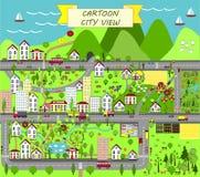 Αστικό τοπίο με τα σπίτια, τη θάλασσα, τους δρόμους, τα δέντρα, τους κήπους, τα αυτοκίνητα, και τα προάστια Στοκ φωτογραφία με δικαίωμα ελεύθερης χρήσης