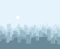 Αστικό τοπίο οριζόντων πόλεων Σκιαγραφία εικονικής παράστασης πόλης στο επίπεδο ύφος απεικόνιση αποθεμάτων
