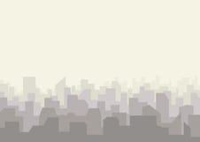 Αστικό τοπίο οριζόντων πόλεων Σκιαγραφία εικονικής παράστασης πόλης στο επίπεδο ύφος ελεύθερη απεικόνιση δικαιώματος