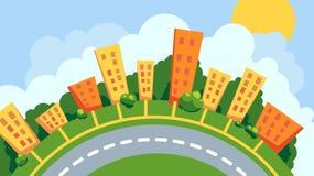 Αστικό τοπίο σε έναν κύκλο διανυσματική απεικόνιση