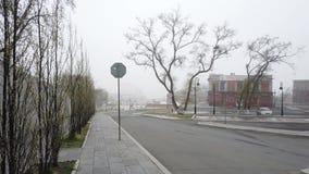 Αστικό τοπίο στην ομίχλη απόθεμα βίντεο