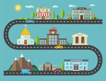 Αστικό τοπίο στο επίπεδο σχέδιο Ζωή πόλεων με τα σύγχρονα εικονίδια του u απεικόνιση αποθεμάτων