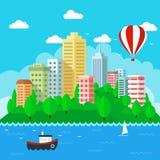Αστικό τοπίο στο επίπεδο σχέδιο ύφους επίσης corel σύρετε το διάνυσμα απεικόνισης Στοκ Εικόνες