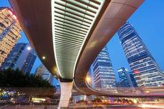 Αστικό τοπίο της Σαγκάη και σύγχρονη άποψη νύχτας αρχιτεκτονικής Στοκ Εικόνες