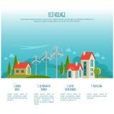 Αστικό τοπίο Eco εναλλακτική ενέργεια τρισδιάστατος απομονωμένος απεικόνιση αέρας ισχύος Στοκ Εικόνες