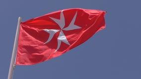 Αστικό ensign εθνικών σημαιών της Μάλτας που απομονώνεται απόθεμα βίντεο