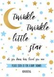Αστράψτε αστράφτει λίγο κείμενο αστεριών με το χρυσό oranment και μπλε αστέρι για το πρότυπο καρτών ντους μωρών αγοριών Στοκ εικόνα με δικαίωμα ελεύθερης χρήσης