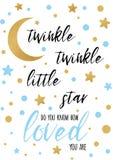 Αστράψτε αστράφτει λίγο κείμενο αστεριών με το χρυσό oranment και μπλε αστέρι για το πρότυπο εμβλημάτων ντους μωρών αγοριών Στοκ Εικόνα