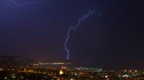 Αστραπή και καταιγίδα στο Κόλπο Tigullio - Chiavari - Ιταλία Στοκ Φωτογραφία