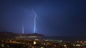 Αστραπή και καταιγίδα στο Κόλπο Tigullio - Chiavari - Ιταλία Στοκ εικόνα με δικαίωμα ελεύθερης χρήσης