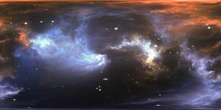 Αστρικά σύστημα και νεφέλωμα εικονικής πραγματικότητας Πανόραμα, περιβάλλον 360 χάρτης HDRI Προβολή Equirectangular, σφαιρικό παν διανυσματική απεικόνιση