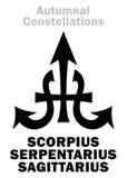 Αστρολογία: Φθινοπωρινοί ΑΣΤΕΡΙΣΜΟΙ διανυσματική απεικόνιση