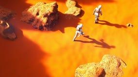 Αστροναύτες που περπατούν στον Άρη Μια φουτουριστική έννοια μιας αποίκισης του Άρη διανυσματική απεικόνιση