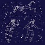 Αστροναύτες στις φόρμες αστροναύτη ελεύθερη απεικόνιση δικαιώματος
