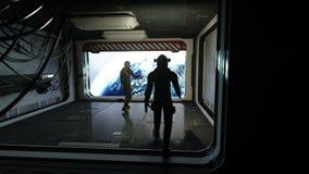 Αστροναύτες στο φουτουριστικό διαστημικό διάδρομο, δωμάτιο άποψη της γης cinematic 4k μήκος σε πόδηα διανυσματική απεικόνιση