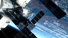 Αστροναύτης έξω από το διαστημικό σταθμό διανυσματική απεικόνιση