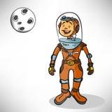 Αστροναύτης αγοριών κινούμενων σχεδίων Στοκ Εικόνα