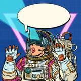 Αστροναύτης γυναικών στα γυαλιά εικονικής πραγματικότητας Η δεκαετία του '80 κοριτσιών απεικόνιση αποθεμάτων