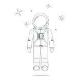 Αστροναύτης και αστέρια σχεδίου τέχνης γραμμών Στοκ φωτογραφία με δικαίωμα ελεύθερης χρήσης